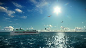 Cruise ship sailing, seagulls flying, beautiful morning, with sound. Hd video stock video footage