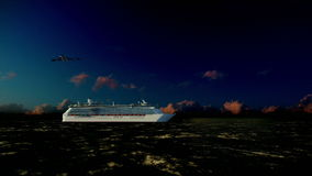Cruise ship sailing, seagulls at sunrise, camera fly, with sound. Hd video stock footage