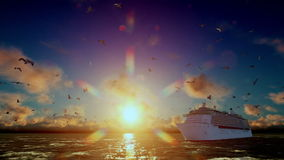 Cruise ship sailing and seagulls at sunset, tilt, with sound. Hd video stock footage