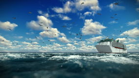 Cruise ship sailing, time lapse afternoon clouds and seagulls, sound included. Hd video stock footage