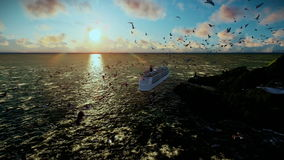 Cruise ship sailing, time lapse sunrise and seagulls, camera fly, sound included. Hd video stock footage