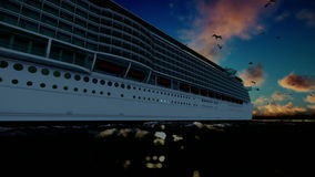 Cruise ship sailing, time lapse sunrise and seagulls, sound included. Hd video stock video footage