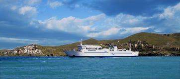 Cruise ship sailing to the island. Cruise ship sailing to the Kea Island, in Cyclades complex of the Mediterranean Sea, Greece Royalty Free Stock Images