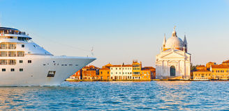 Cruise ship sailing into Venice, Italy canal Stock Photo