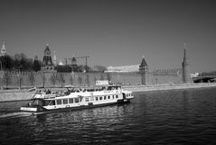 Cruise ship sails by the Moscow Kremlin. UNESCO World Heritage Site. Royalty Free Stock Photo