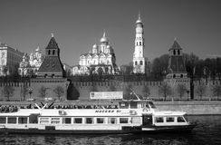 Cruise ship sails by the Moscow Kremlin. UNESCO World Heritage Site. Royalty Free Stock Image