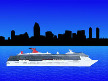 Cruise ship in San Diego. Cruise ship with San Diego Skyline illustration Royalty Free Stock Image