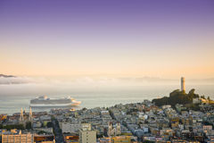 Cruise ship at San Francisco on sunrise Stock Image