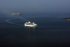 Cruise ship in Santorini Stock Photography