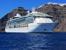 Cruise ship, Santorini Stock Photography