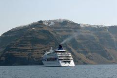 Cruise ship in Santorini Stock Photo