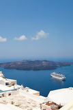 Cruise ship in Santorini, Greece Stock Photos