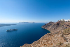 Cruise Ship in Santorini Greece Royalty Free Stock Photos