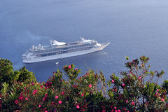 Cruise ship Santorini Stock Images