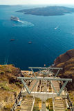 Cruise ship on Santorini island Stock Photo