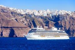 Cruise ship, Santorini island royalty free stock photography