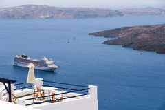 Cruise ship in Santorini Royalty Free Stock Photos