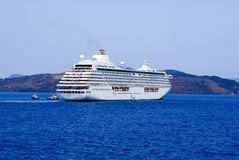 Cruise ship at Santorini port Royalty Free Stock Images