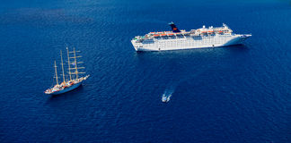 Cruise Ship and Schooners Royalty Free Stock Photography