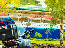 Cruise ship and scooter closeup Royalty Free Stock Image