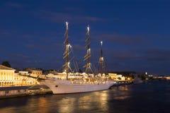 Cruise ship `Sea Cloud II` near the English embankment in Saint-Petersburg summer night Stock Images