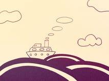 Cruise ship, sea and clouds. Illustration, Cruise Ship, Sea and Cloud Illustration Image vector illustration