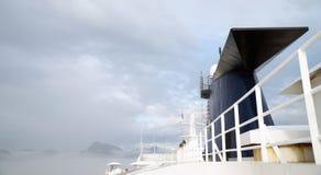 Cruise Ship Sea Ferry Smokestack Cloudy Skies Stock Photo