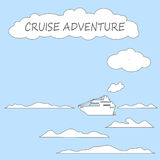 Cruise ship in sea flat style vector illustration. Royalty Free Stock Photography