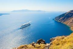 Cruise ship at the sea near the Greek Islands. Stock Photos