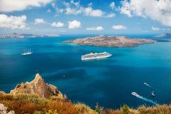 Cruise ship at sea near the Greek Islands. Stock Photos