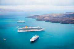 Cruise ship at the sea near the Greek Islands. Santorini island, Greece Royalty Free Stock Photography