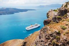 Cruise ship at the sea near the Greek Islands. Stock Photo