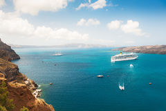 Cruise ship at the sea near the Greek Islands. Stock Image