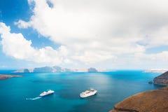 Cruise ship at the sea near the Greek Islands. Stock Photography