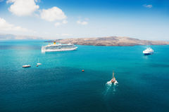 Cruise ship at the sea near the Greek Islands. Royalty Free Stock Photography