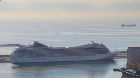 Cruise ship in the sea port of Barcelona Royalty Free Stock Photo