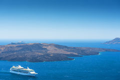 Cruise Ship On The Sea in Santorini Royalty Free Stock Photography