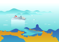 Cruise ship in the sea. Seascape view. Vector illustration on art deco style. Stock Photography