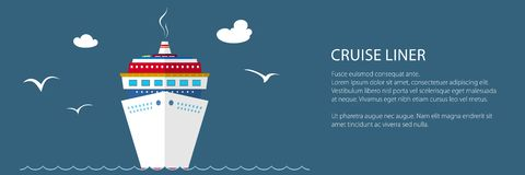Cruise Ship at Sea Banner. Cruise Ship at Sea and Text, Front View of the Liner , Travel Banner, Vector Illustration vector illustration