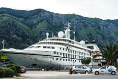 Cruise ship Seaborn Spirit, Kotor port, Montenegro Royalty Free Stock Photography