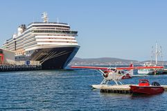 A cruise ship and a seaplane - Hobart Stock Photo