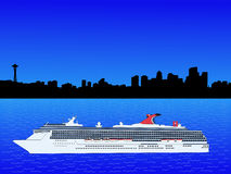 Cruise ship in Seattle Royalty Free Stock Photo