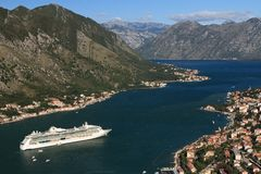 Cruise ship. Serenade of the Seas in the Bay of Kotor in Montenegro. September 23, 2014 Royalty Free Stock Photo