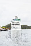 Cruise Ship on Silver Water Stock Photo