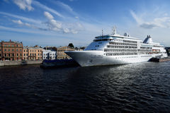 Cruise ship Silver Whisper in St. Petersburg, Russia. St. Petersburg, Russia - June 23, 2015: Cruise ship Silver Whisper anchored at English Embankment. The Stock Photography