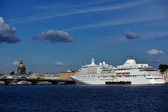 Cruise ship Silver Whisper in St. Petersburg, Russia. St. Petersburg, Russia - June 23, 2015: Cruise ship Silver Whisper anchored at English Embankment. The Royalty Free Stock Image