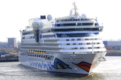 Cruise Ship In Small Port Royalty Free Stock Images