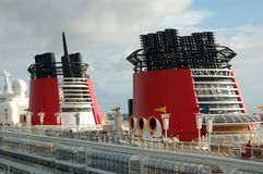 Cruise Ship smoke stacks Royalty Free Stock Photography