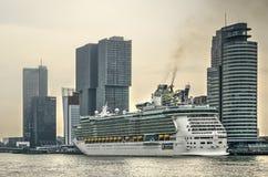 Cruise ship smoking at terminal royalty free stock photo