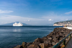 Cruise ship in Sorrento Royalty Free Stock Photography